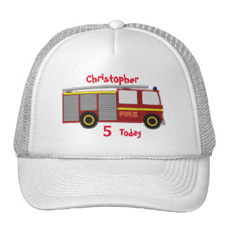 Fire Truck Just Add Name Birthday Hat