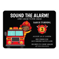 Fire  Truck Kids Firefighter Invitation