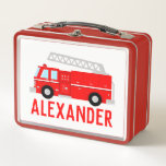 "Fire Truck Kids Name Metal Lunch Box<br><div class=""desc"">Does your child love firefighters? The Fire Truck Child&#39;s Name Metal Lunch Box designed by Enchantfancy Design Company is perfect for the future fireman or firewoman in your life. This design features a bright red fire truck complete with a ladder. Personalize with your choice of name in bright red text....</div>"