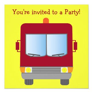 Fire Truck Kids Party Customizable Yellow Card
