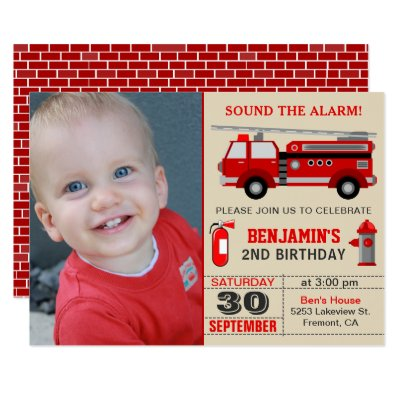 Fire Truck Firefighter Kids Birthday Invitations – Fire Truck Birthday Invitation