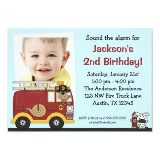 Fire Truck Monkey Photo Birthday Party Invitations