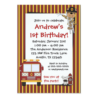 "Fire Truck Monkey Stripes Birthday Invitations 5"" X 7"" Invitation Card"