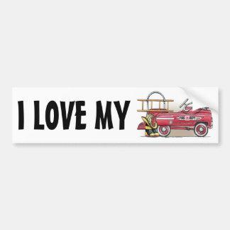 Fire Truck Pedal Car Bumper Sticker ILM