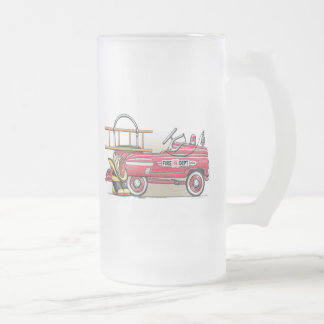 Fire Truck Pedal Car Frosted Glass Mug