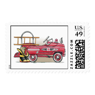 Fire Truck Pedal Car Kids Car Postage Stamp