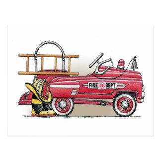 Fire Truck Pedal Car Postcard