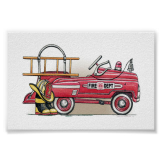 Fire Truck Pedal Car Poster