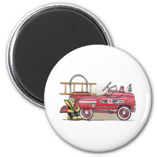 Fire Truck Pedal Car Round Magnet