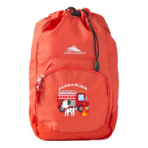 Fire Truck Personalized School Back Pack