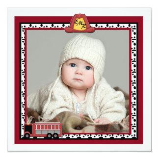 Fire Truck - Photo Birth Announcement