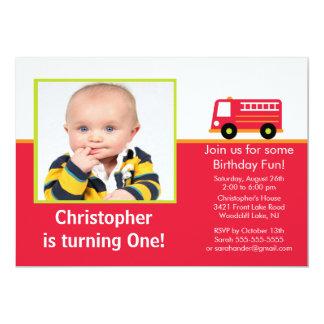 "Fire truck Photo Birthday Party Invitation 5"" X 7"" Invitation Card"