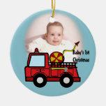Fire Truck Photo Decoration Christmas Tree Ornament