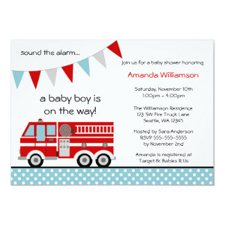 Fire Truck Polka Dot Banner Boy Baby Shower Card