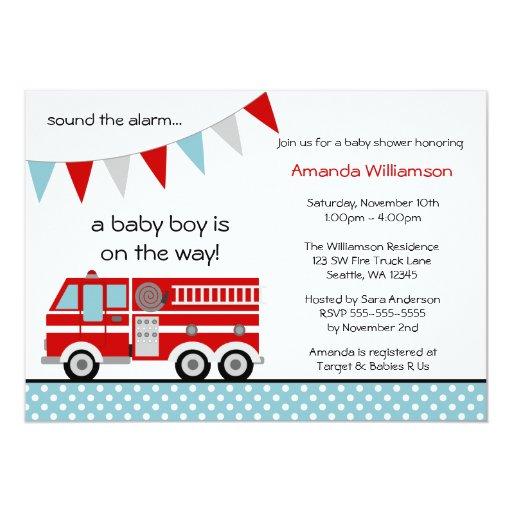 Fire Truck Polka Dot Banner Boy Baby Shower 5x7 Paper Invitation Card