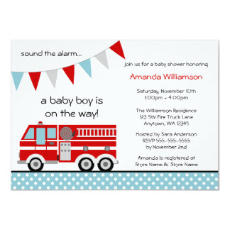Fire Truck Polka Dot Banner Boy Baby Shower Personalized Invites