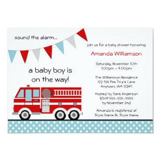 Fire Truck Polka Dot Banner Boy Baby Shower 4.5x6.25 Paper Invitation Card