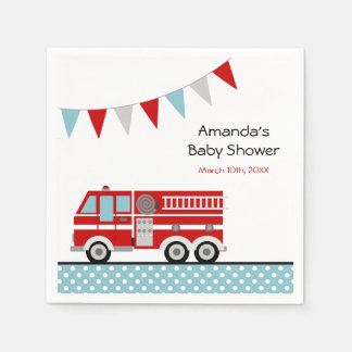 Fire Truck Polka Dot Banner Boy Baby Shower Paper Napkin