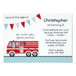 Fire Truck Polka Dot Banner Boy Birthday Party Card
