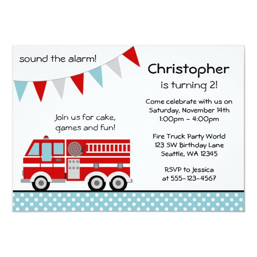 Fire Truck Polka Dot Banner Boy Birthday Party Personalized Invitation