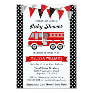 Fire Truck Polka Dot Bunting Baby Shower Card