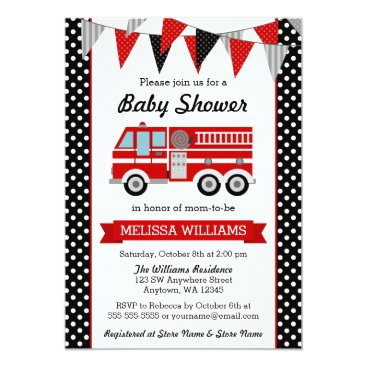 Toddler & Baby themed Fire Truck Polka Dot Bunting Baby Shower Card