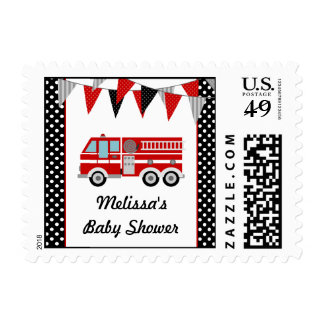 Fire Truck Polka Dot Bunting Baby Shower Postage