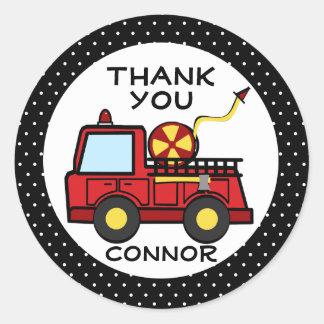 Fire Truck Polka Dots Classic Round Sticker