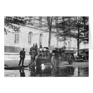 Fire Truck Power Wash, 1923 Greeting Card