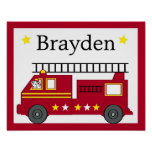 Fire Truck Puppy Personalized Name Art Print