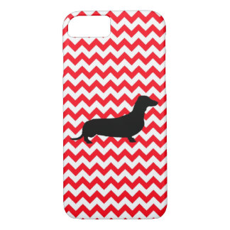 Fire Truck Red Chevron With Dachshund iPhone 7 Case