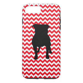 Fire Truck Red Chevron With Pug Silhouette iPhone 7 Plus Case