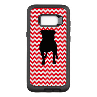 Fire Truck Red Chevron With Pug Silhouette OtterBox Defender Samsung Galaxy S8+ Case