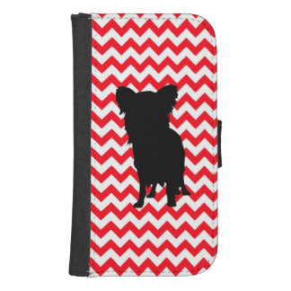 Fire Truck Red Chevron With Yorkie Silhouette Phone Wallet