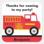 Fire Truck Stickers Square Sticker