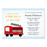 "Fire Truck Stripes Boy Baby Shower Invitations 5"" X 7"" Invitation Card"