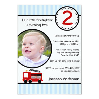 "Fire Truck Stripes Photo Boy Birthday Party 5"" X 7"" Invitation Card"