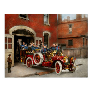 Fire Truck - The flying squadron 1911 Postcard