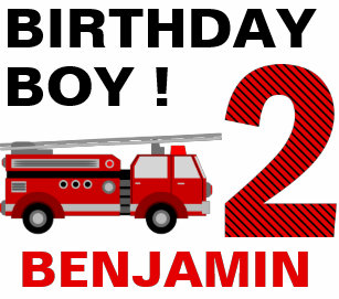 Fire Truck Theme 2nd Birthday Party Baby T Shirt