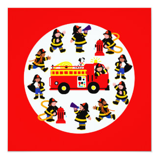Fire Truck with Busy Firefighters Card