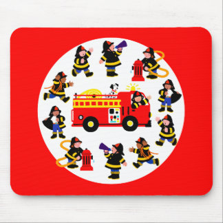 Fire Truck with Busy Firefighters Mouse Pad