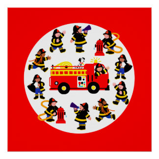 Fire Truck with Busy Firefighters Print