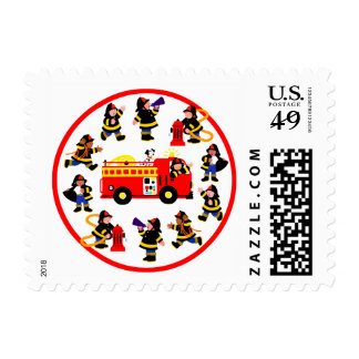 Fire Truck with Busy Firefighters Stamps