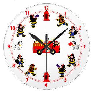 Fire Truck with Busy Firemen Wall Clocks