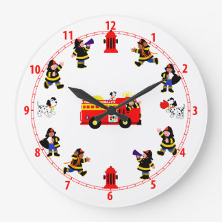 Fire Truck with Busy Firemen Large Clock