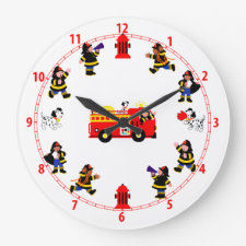 Fire Truck with Busy Firemen Round Clock