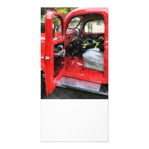 Fire Truck With Fireman's Uniform Photo Card Template