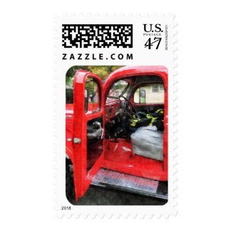 Fire Truck With Fireman's Uniform Postage Stamp