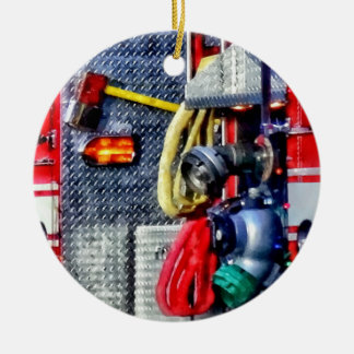Fire Truck With Hoses and Ax Double-Sided Ceramic Round Christmas Ornament