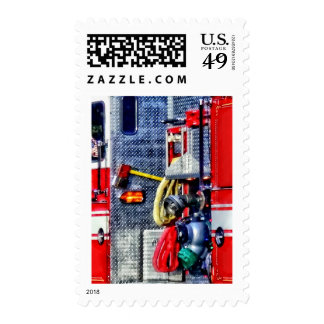Fire Truck With Hoses and Ax Postage